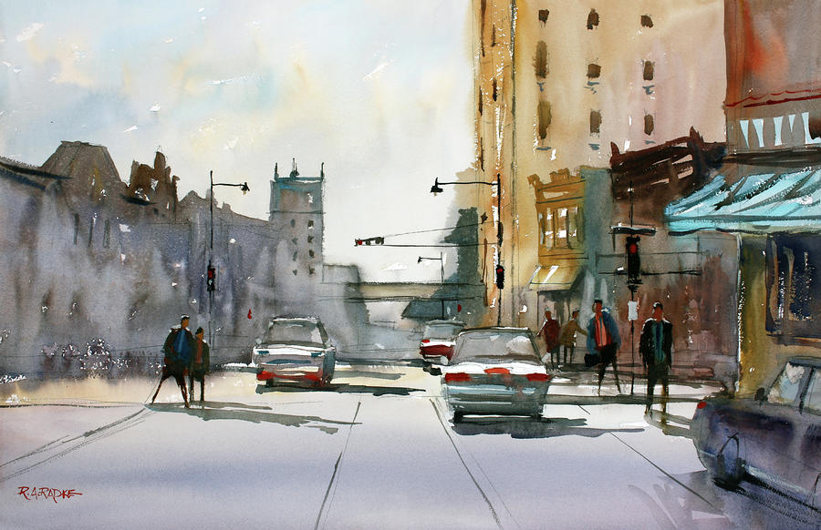 Heading West On College Avenue - Appleton Painting
