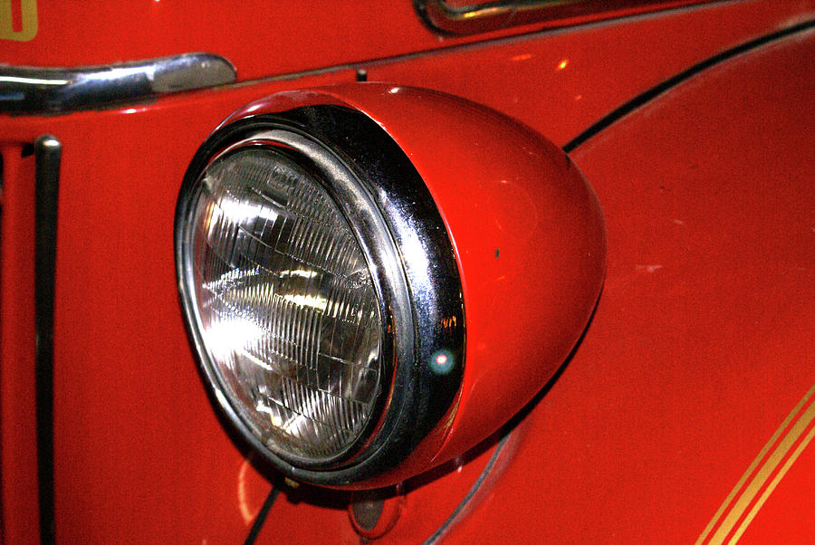 Headlamp On Red Firetruck Photograph