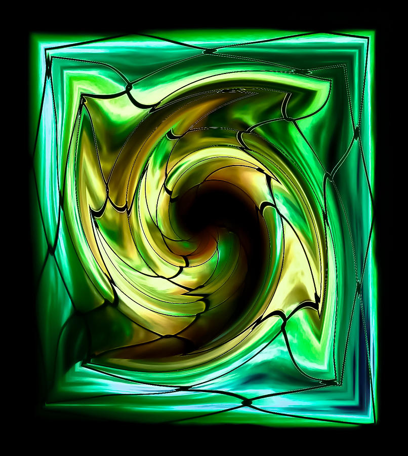 Healing Green Stained Glass Digital Art  - Healing Green Stained Glass Fine Art Print