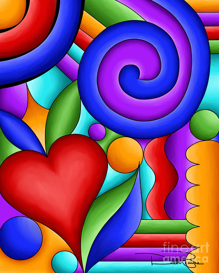 Heart and swirl by debi payne for Imagenes de cuadros abstractos famosos