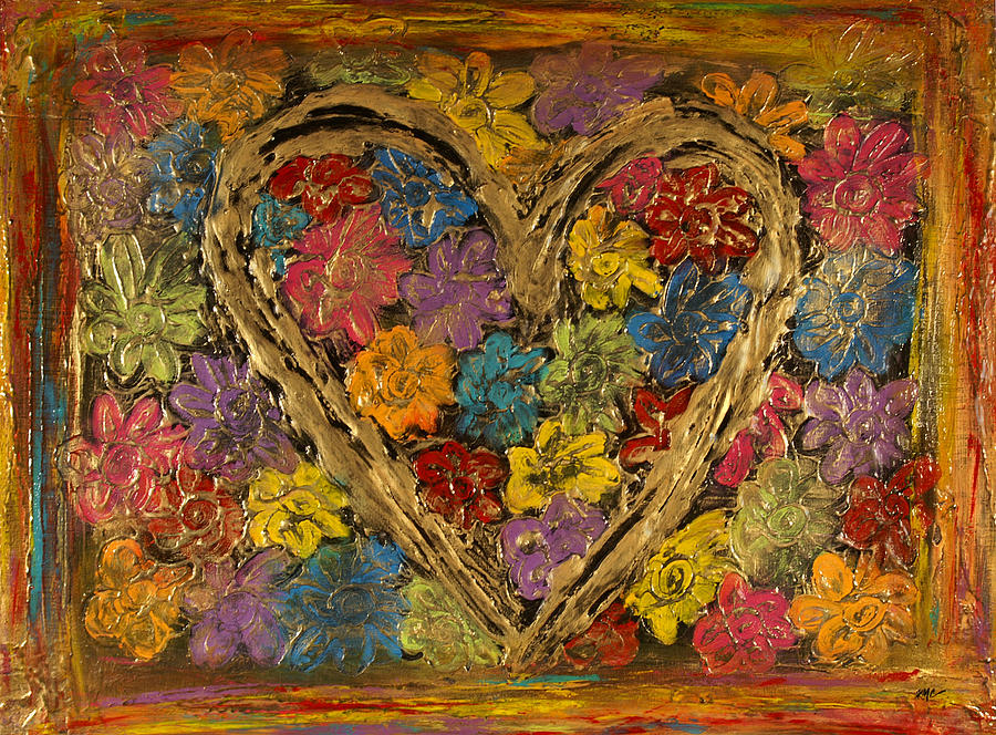 Heart Bouquet Painting  - Heart Bouquet Fine Art Print