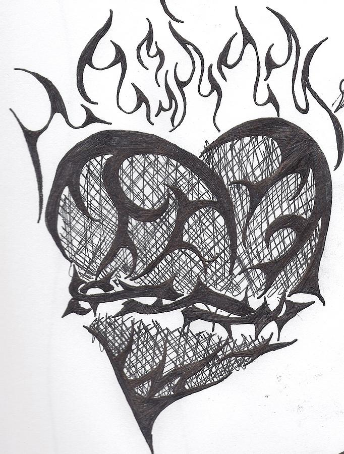 Heart With Flames Draw...
