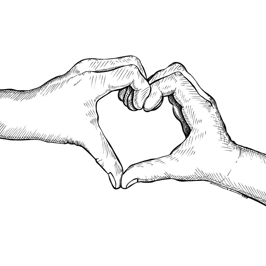 Heart Hands Drawing  - Heart Hands Fine Art Print