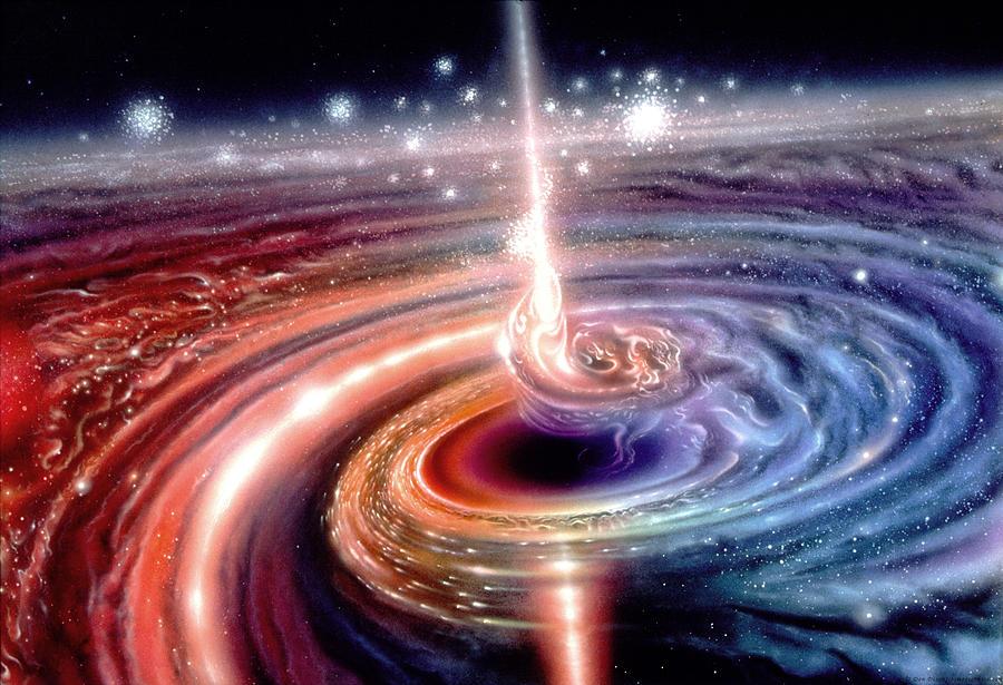 Resultado de imagen de La deslumbrante radiación del quásar se crea a partir de las estrellas que, una por una, van alimentando al agujero negro gigante