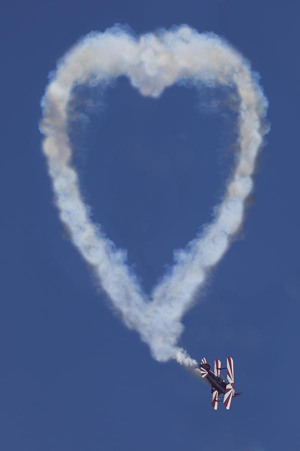 Heart Shape Smoke And Plane Photograph