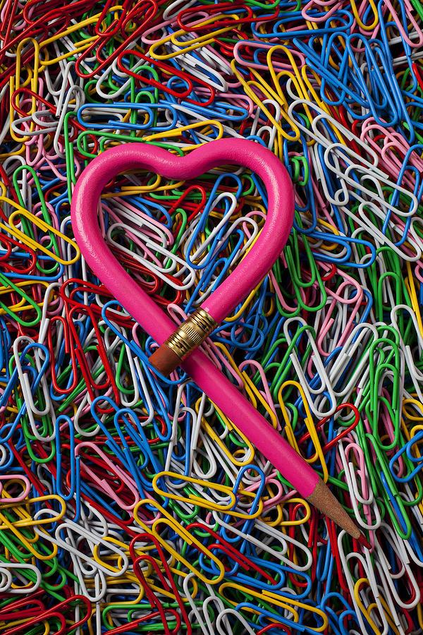 Heart Shaped Pink Pencil Love Photograph - Heart Shaped Pink Pencil by Garry Gay