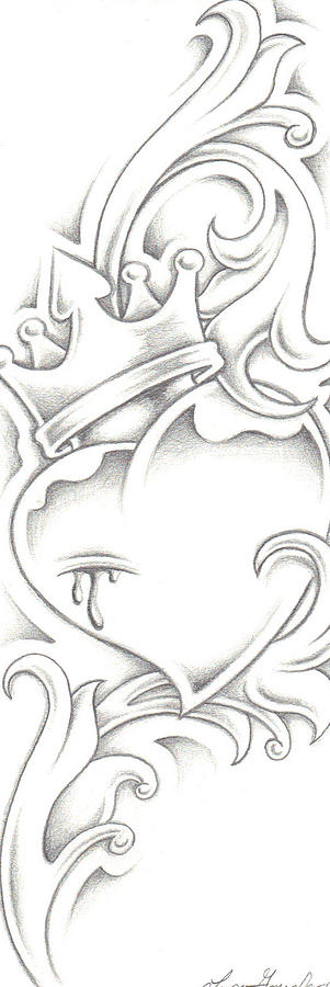 How To Draw A Heart With A Crown Heart With Crown Drawi...