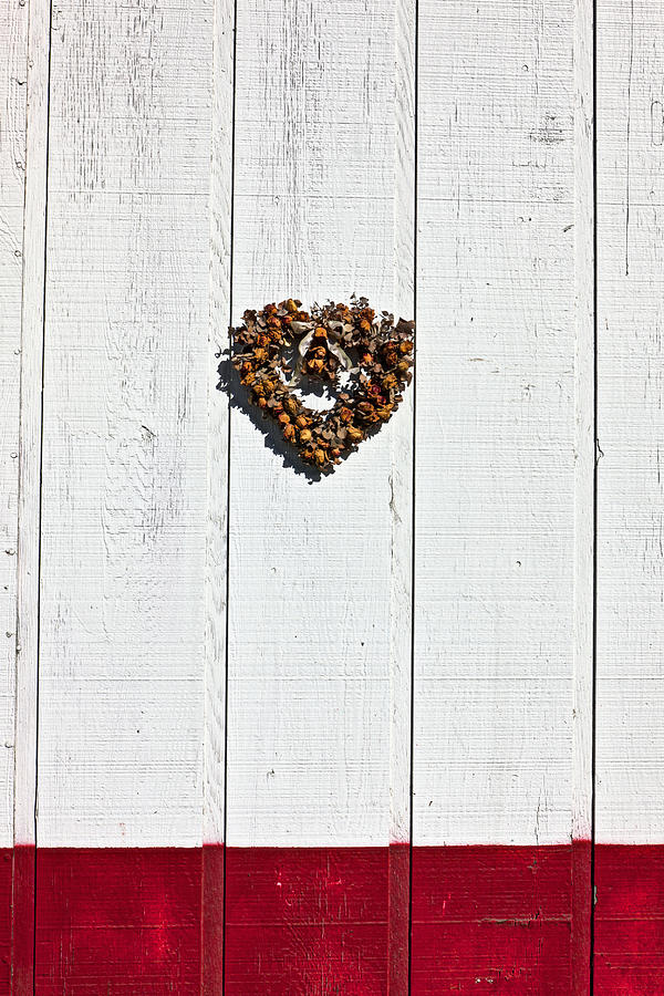 Heart Wreath On Wood Wall Photograph  - Heart Wreath On Wood Wall Fine Art Print