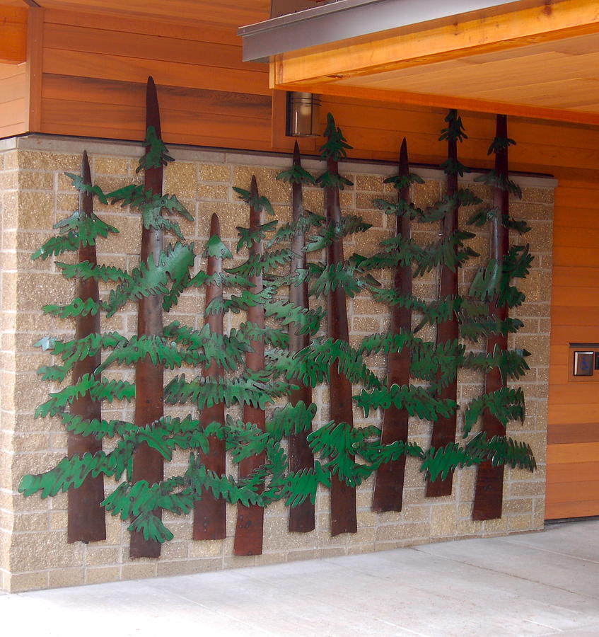 Trees Forrest Oregon Timber Saw Mill Cut Logging Recycled Oil Tank Steel Painted Wall Hanging Art Sculpture Forged Brick Stone Plasma Hand Cut Wood Cross Rust Green Limb Gloss Sculpture - Heaves Backyard by Ben Dye