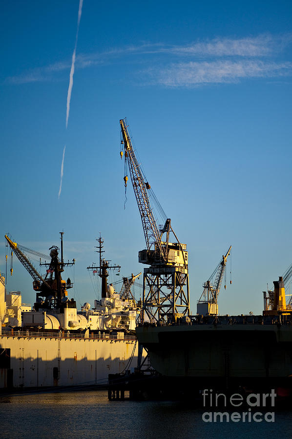 Heavy Equipment Cranes At Drydock Photograph