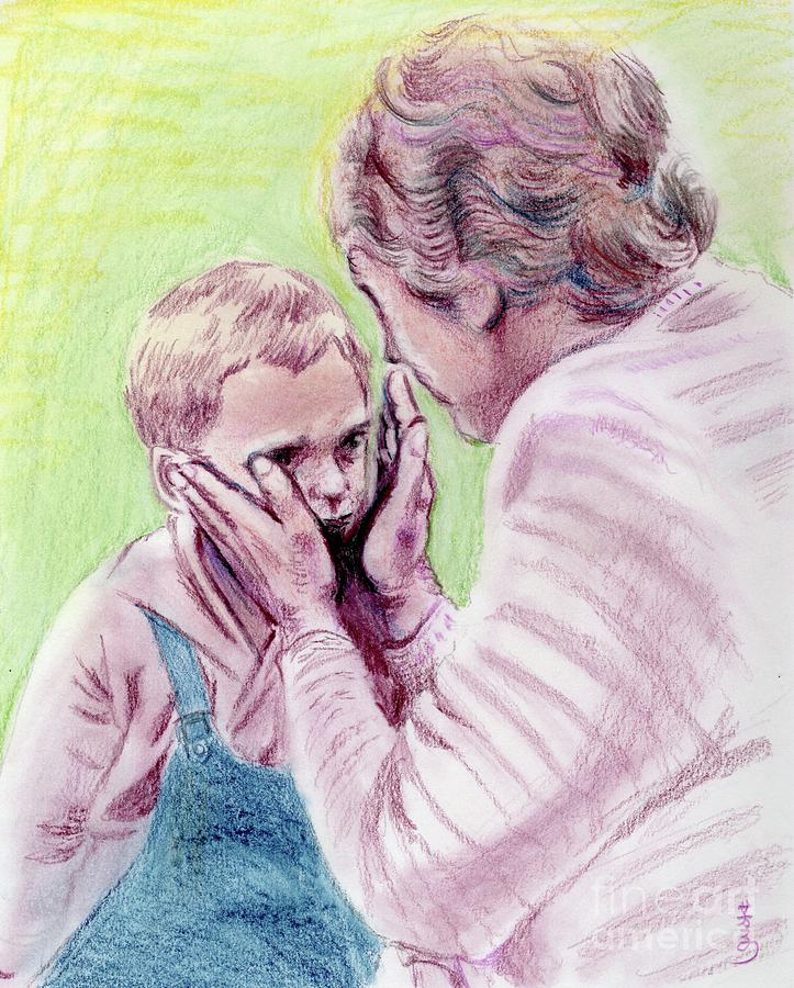 Helen Keller And A Boy Painting