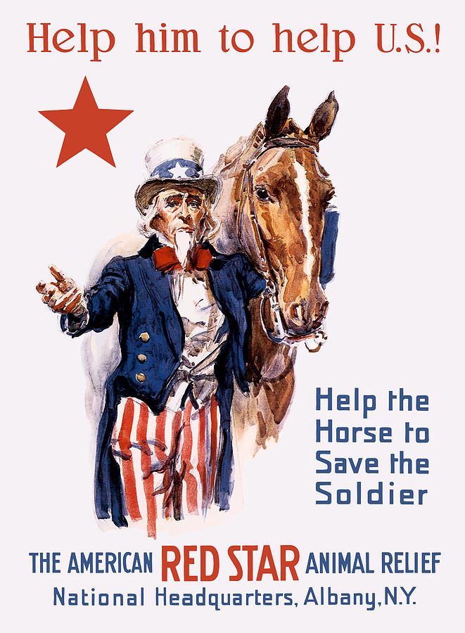 Help The Horse To Save The Soldier Painting  - Help The Horse To Save The Soldier Fine Art Print