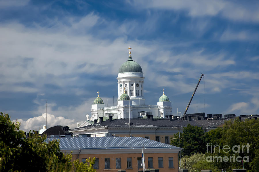 Helsinki Lutheran Cathedral - The Dome Surrounded By The Historic Empire Center Photograph  - Helsinki Lutheran Cathedral - The Dome Surrounded By The Historic Empire Center Fine Art Print