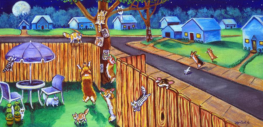 Herding Cats - Pembroke Welsh Corgi Painting