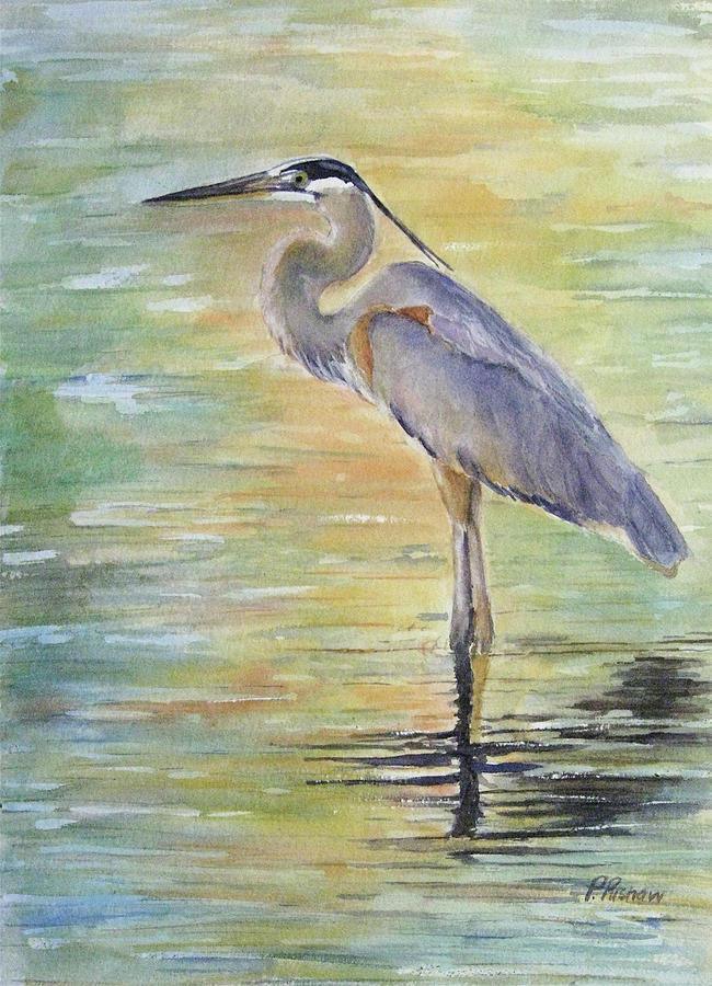 Heron At The Lagoon Painting