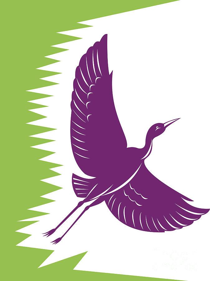 Heron Crane Flying Retro Digital Art
