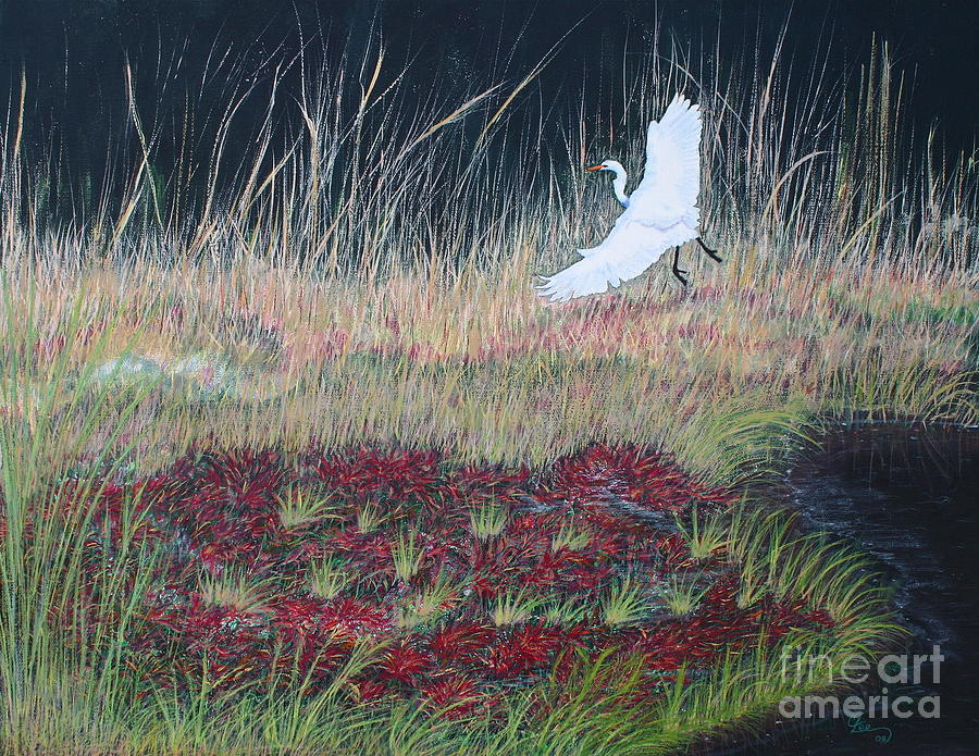 Heron Over Autumn Marsh Painting  - Heron Over Autumn Marsh Fine Art Print