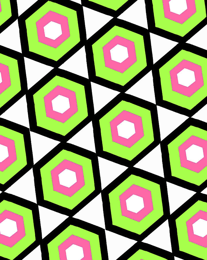 Louisa Digital Art - Hexagon by Louisa Knight