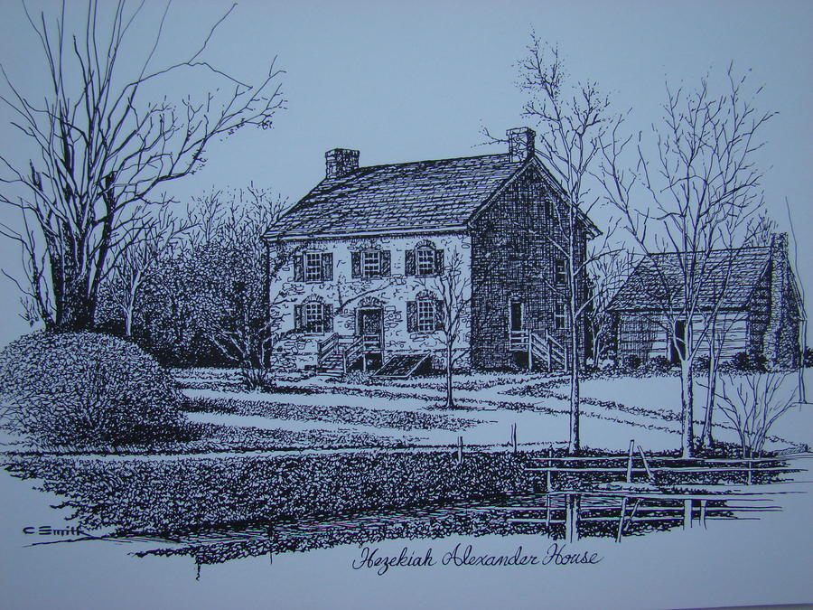 Hezekiah Alexander House Etching Drawing  - Hezekiah Alexander House Etching Fine Art Print