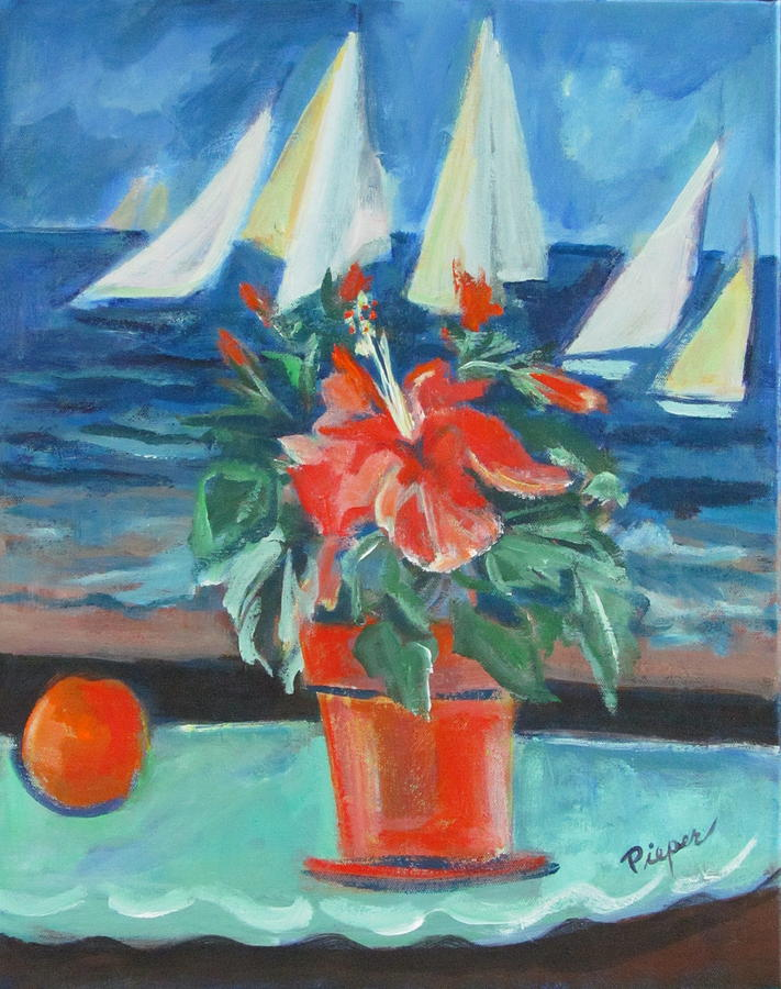 Hibiscus With An Orange And Sails For Breakfast Painting  - Hibiscus With An Orange And Sails For Breakfast Fine Art Print