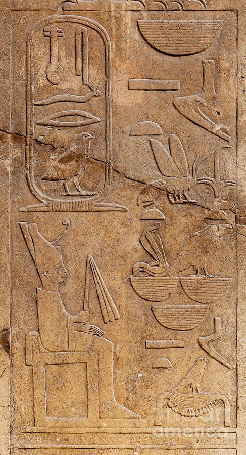 Hieroglyphs On Ancient Carving Photograph