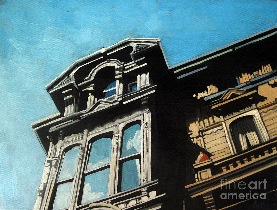 High In The Sky - Houses Painting  - High In The Sky - Houses Fine Art Print