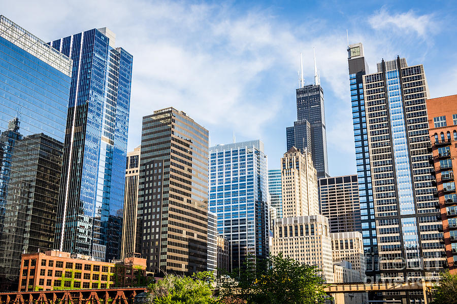 High res picture of chicago skyline city buildings photograph by paul