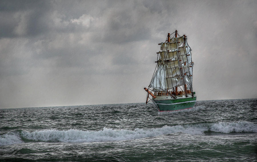 High Seas Sailing Ship Digital Art  - High Seas Sailing Ship Fine Art Print
