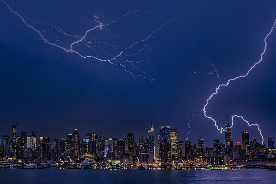 High Voltage In The  New York City Skyline Photograph  - High Voltage In The  New York City Skyline Fine Art Print