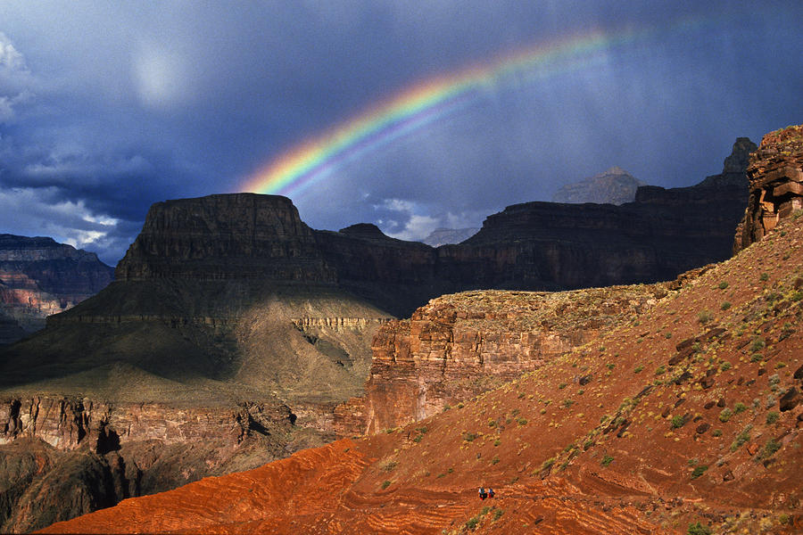Arizona Photograph - Hikers And Rainbow Kaibab Trail, Grand by Ralph Lee Hopkins