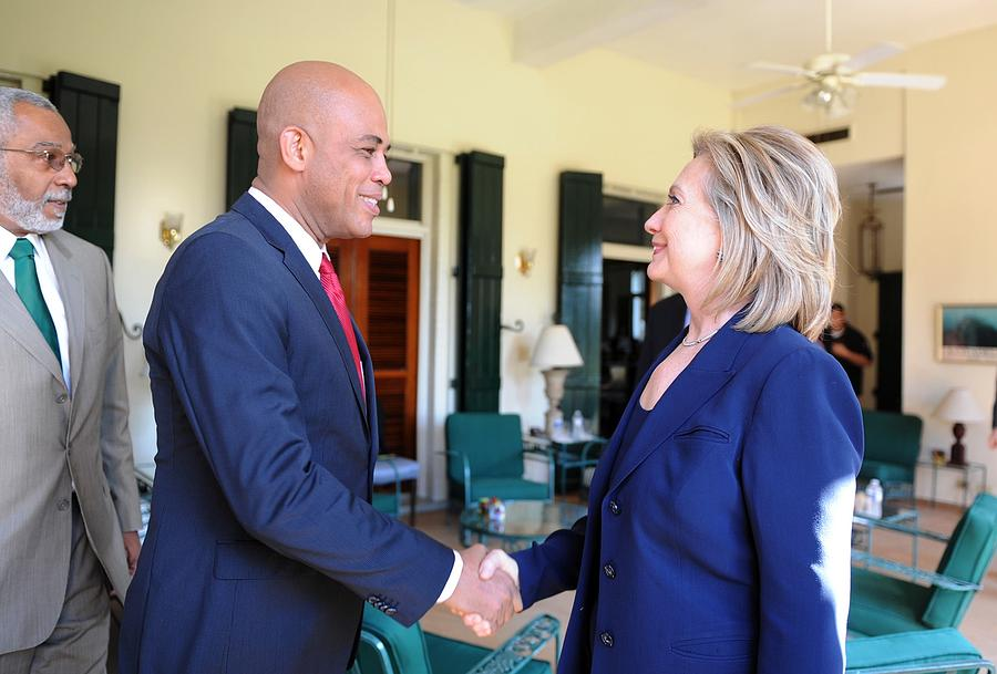 History Photograph - Hillary Clinton Meets With Haitian by Everett