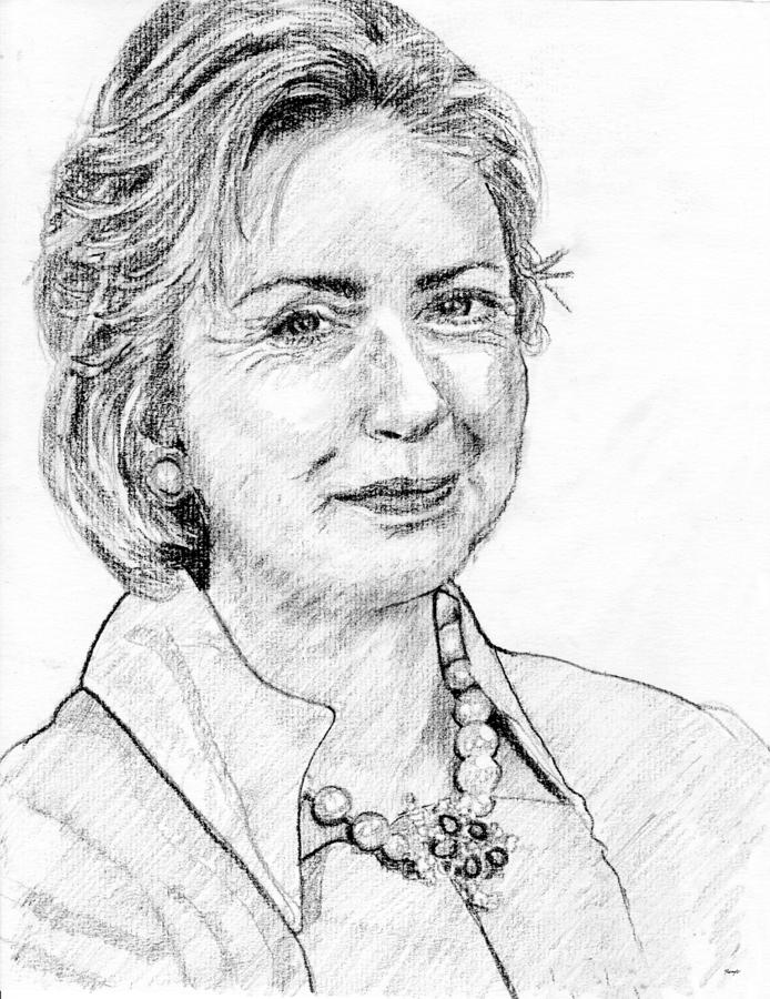 Hillary Clinton Pencil Portrait Drawing