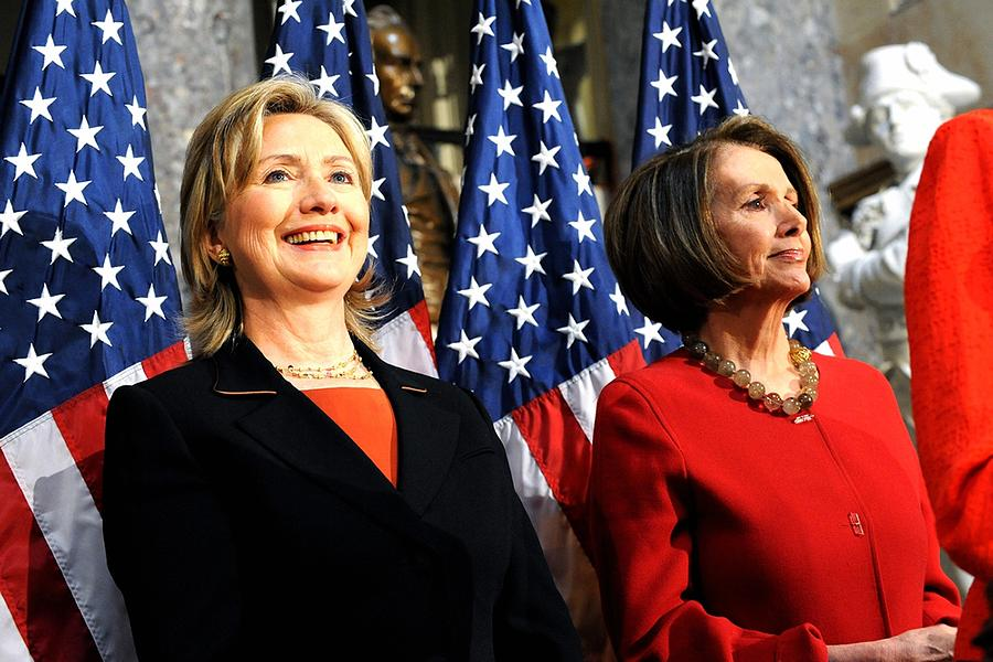 Hillary Clinton Stands With Speaker Photograph  - Hillary Clinton Stands With Speaker Fine Art Print