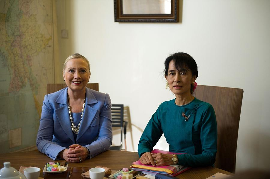 Hillary Clinton Visited Daw Aung San Photograph