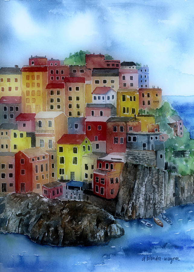 Hillside Homes Painting  - Hillside Homes Fine Art Print
