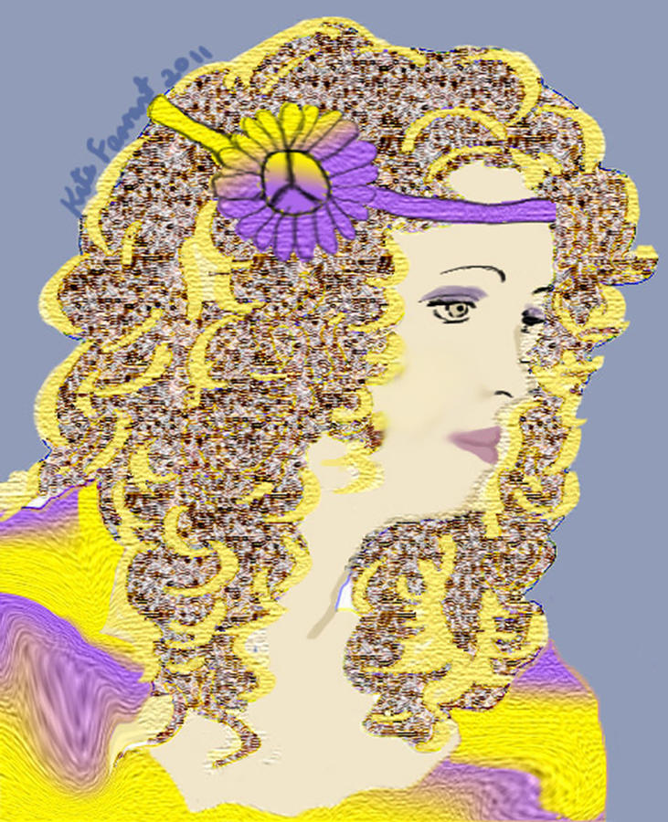 Hippie Chick No 3 Digital Art  - Hippie Chick No 3 Fine Art Print