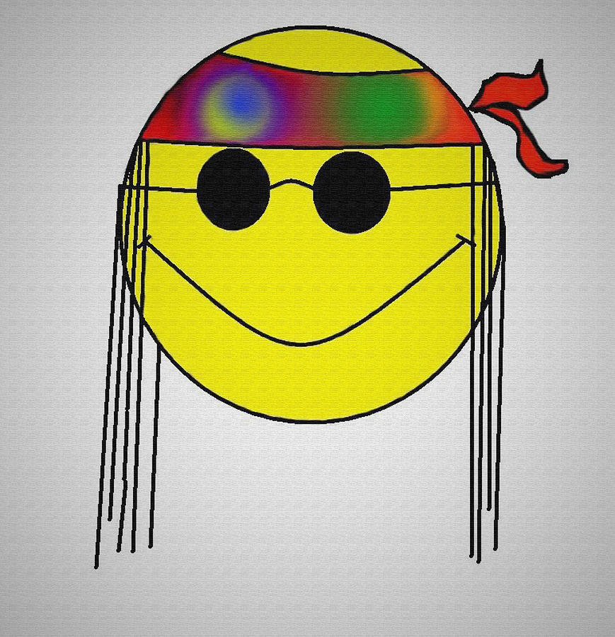 Hippie Face Digital Art  - Hippie Face Fine Art Print