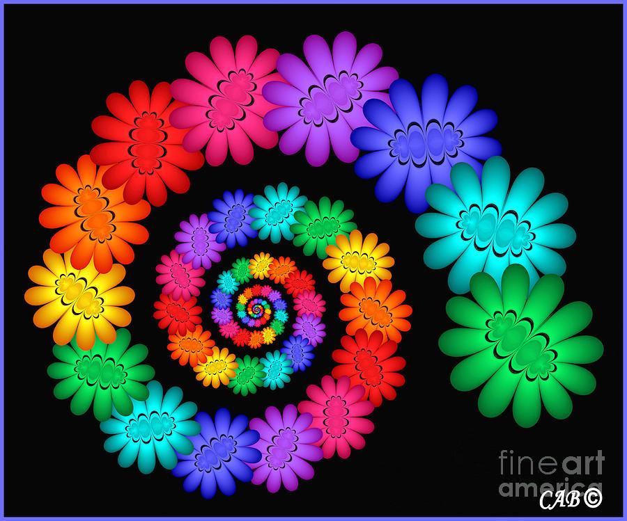 Hippie flowers digital art for Order tie dye roses online