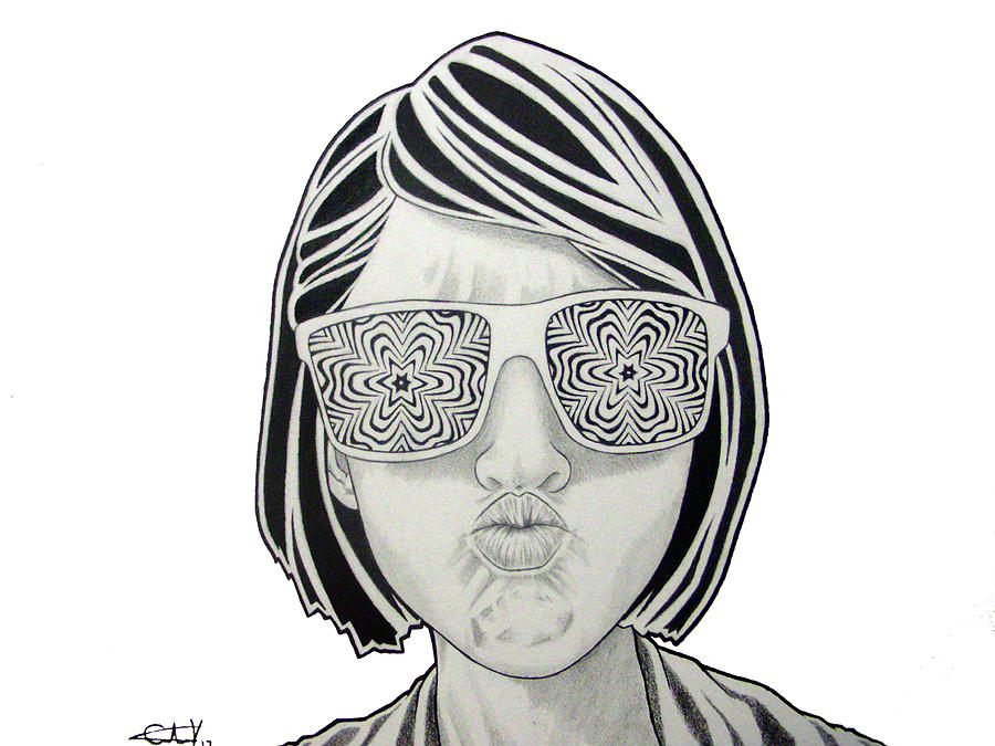 Hipster Glasses Drawing by Carlos Velasquez Art