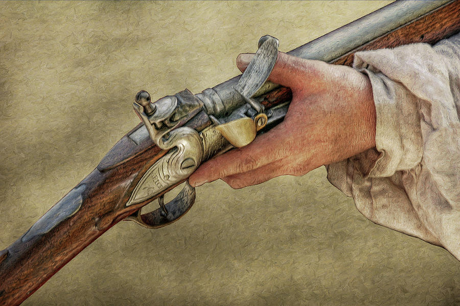 His Flintlock Rifle Digital Art  - His Flintlock Rifle Fine Art Print