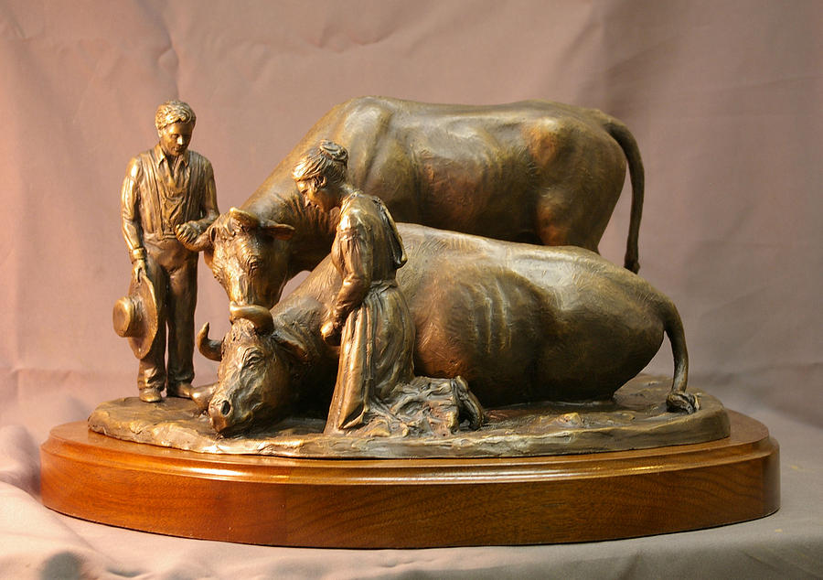 His Mothers Faith Bronze Sculpture Of Mary Fielding Smith And Oxen By Stan Watts And Kim Corpany Sculpture
