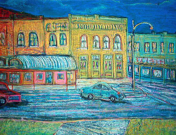 Historic Downtown At Twilight Pastel