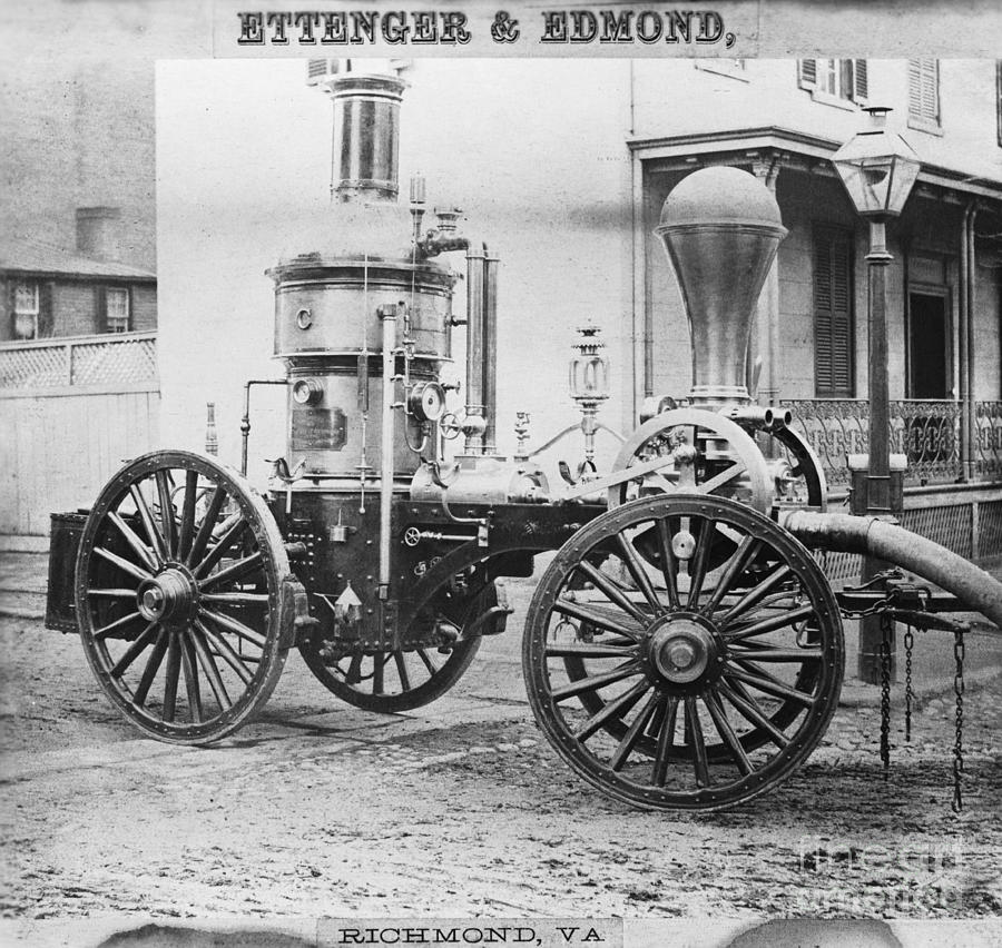 Historic Photograph - Historic Fire Engine by Omikron