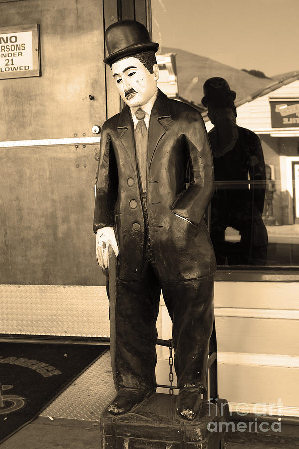 Historic Niles District In California Near Fremont . Charlie Chaplin Statue At The Florence Bar . Se Photograph