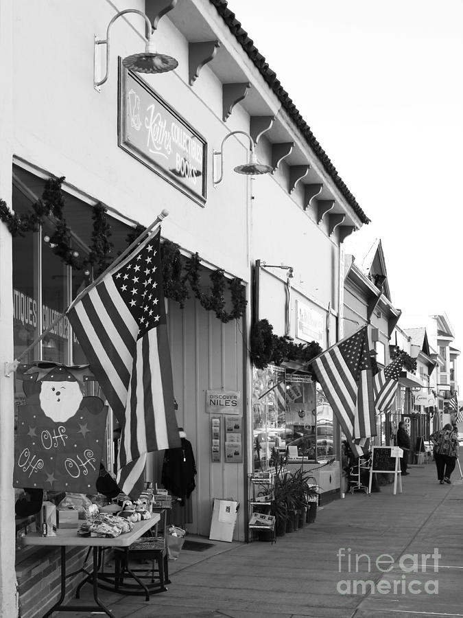 Historic Niles District In California Near Fremont . Main Street . Niles Boulevard . 7d10693 . Bw Photograph