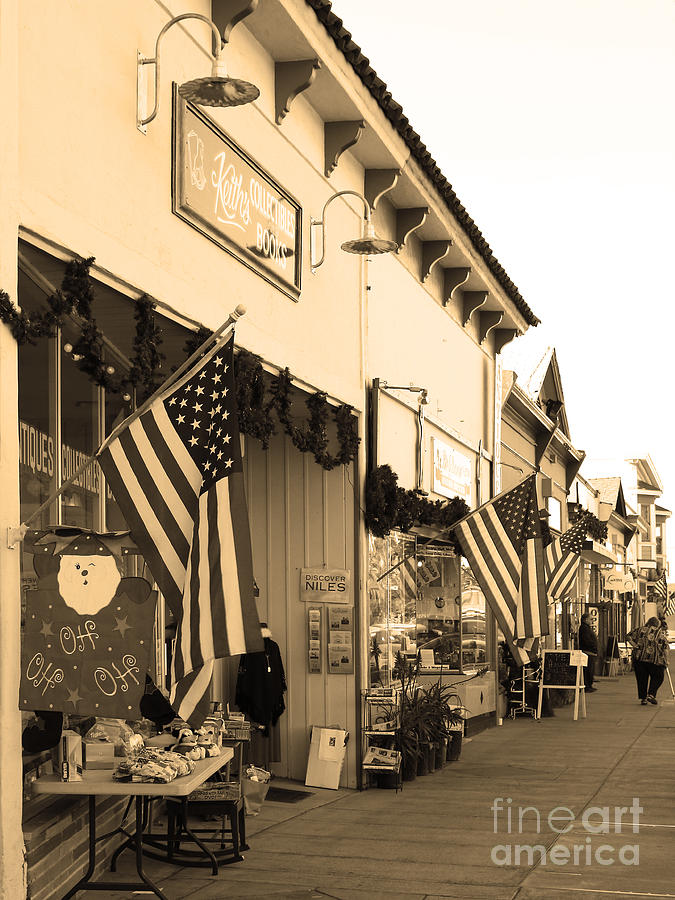 Black And White Photograph - Historic Niles District In California Near Fremont . Main Street . Niles Boulevard . 7d10693 . Sepia by Wingsdomain Art and Photography