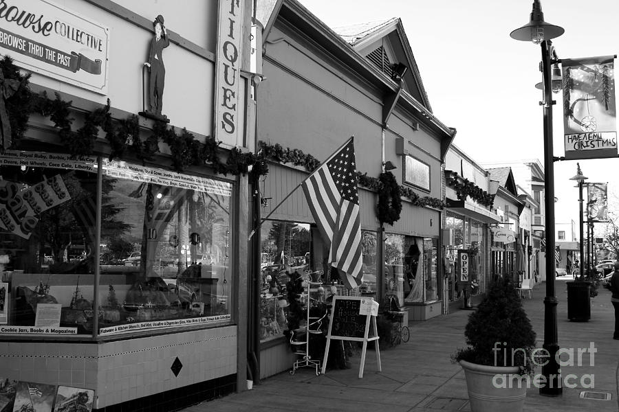 Historic Niles District In California Near Fremont . Main Street . Niles Boulevard . 7d10701 . Bw Photograph