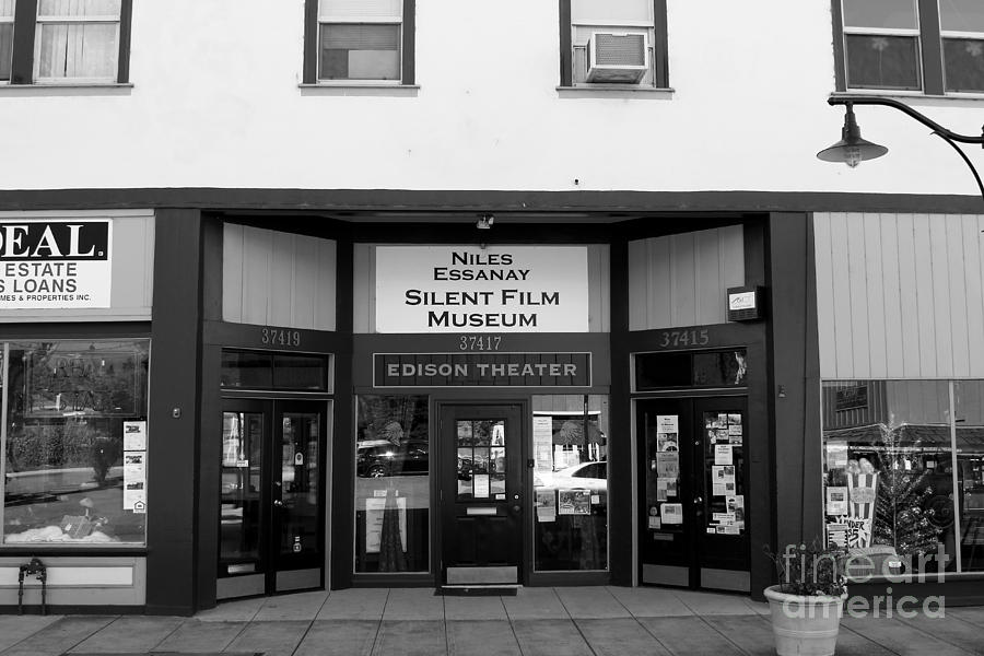 Black And White Photograph - Historic Niles District In California Near Fremont . Niles Essanay Silent Film Museum . 7d10683 Bw by Wingsdomain Art and Photography