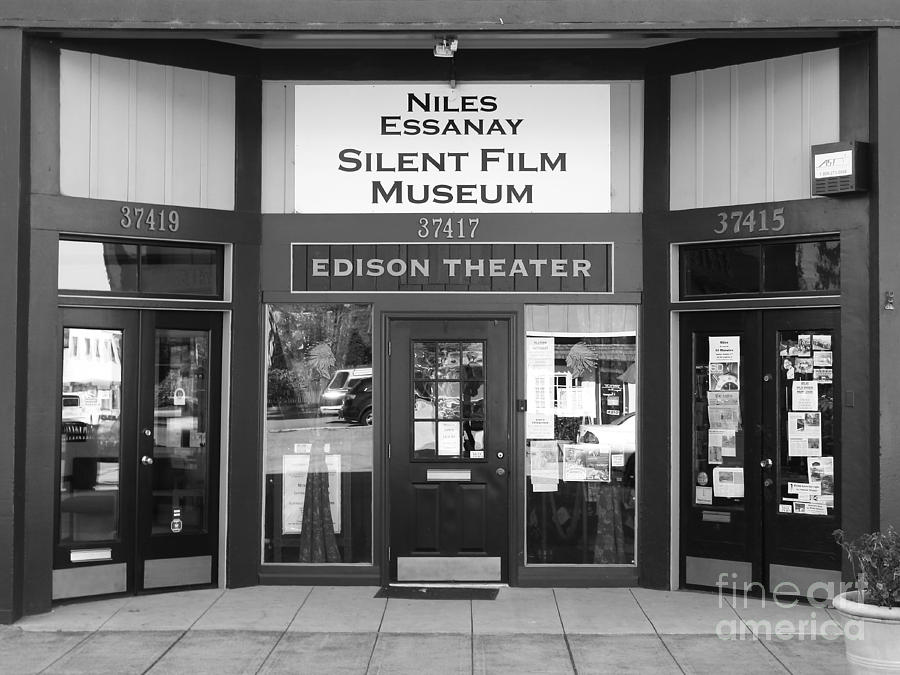 Historic Niles District In California Near Fremont . Niles Essanay Silent Film Museum . 7d10684 Bw Photograph