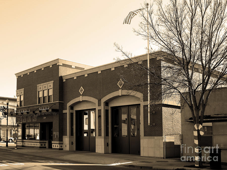 Black And White Photograph - Historic Niles District In California Near Fremont . Niles Fire Station Number 2 . 7d10732 . Sepia by Wingsdomain Art and Photography